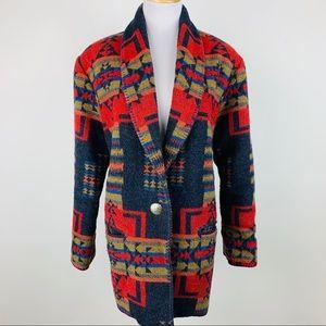 Vintage Rhonda Stark Aztec Western Wool Blazer L